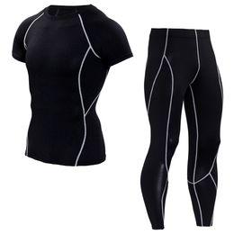 $enCountryForm.capitalKeyWord NZ - Mens T Shirt Suits Solid Color Compression Tights Short Sleeve T-shirt Leggings Sets Fitness Quick Dry Crossfit Shirts Men