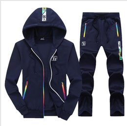 $enCountryForm.capitalKeyWord NZ - Hot sale set sweatsuit Tracksuit Hot autumn mens designer tracksuits jogger solid color hooded zipper cardigan men's sweatshirt loose trouse
