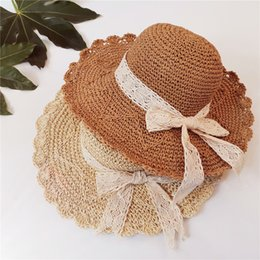51bd30ed32c4f 2019 summer Women Beach hat girls Foldable straw hat lace Bow Sun Hats  Outdoor travel caps C6121