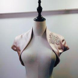 $enCountryForm.capitalKeyWord Australia - Real Images!! Short Sleeves Appliques Satin Wedding Wraps Evening Dress Jackets Wraps Cheap Bridal Jackets Bolero Custom Made Free Shipping