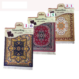 pattern decor NZ - Mairuige Persian Mini Woven Rug Mat Mousepad Retro Style Carpet Pattern Cup Mouse Pad with Fring Home Office Table Decor Craft