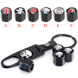 Car Tires Chains Australia - Car Wheel Tyre Tire Stem Air Valve Caps Key Chain Set Skull Punisher Black Car Styling Tire Stem Air Dust Covers+Tool Wrench Keychain