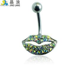 $enCountryForm.capitalKeyWord Australia - Lip Shape Belly Button Ring For Women Body Piecing JewelryNew Style! DIY High Quality Fashion Silver Surgical Steel Colorful Rhinestone