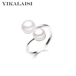 Ring Pearl Celtic Australia - ashion Jewelry Rings YIKALAISI 925 Sterling Silver Interlaced Natural Pearl Rings Jewelry for women 8-9mm Freshwater Double Pearl Ring Ad...