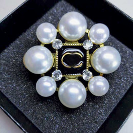 High Quality Suit China Australia - Popular Letters Brooches High Quality Crystal Pearl Enamel Corsage Brooch Pins Women Suit Coat Accessories Jewelry