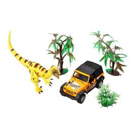 Small Child Toy Car UK - Dinosaur World Small Car Trailer Transporter Model Education Toy Set New Plastic Play Toys For Boys Kids Children gift