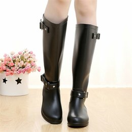 Outdoor Boots Zipper Australia - Punk Style Zipper Tall Boots Women's Pure Color Rain Boots Outdoor Rubber Water Shoes For Female 36-41 Plus Size