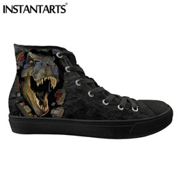 a4ffa29e1 INSTANTARTS Men s Vulcanize Shoes Cool Animal Casual High Top Shoes 3D  Dinosaur Galaxy Wolf Print Canvas Spring Sneakers  283214