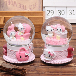 Crystal Ball Music Australia - Cat Crystal Ball Music Box Home Decoration Craft Movement musical box Christmas Pink Mechanism musical Toy Kids Christmas Gifts