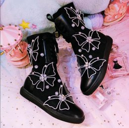 Butterfly prints faBric online shopping - Women Shoes Woman Boots Fashion Fashion Rhinestones Plus Velvet Boots Winter Handmade Butterfly Stretch Casual X162