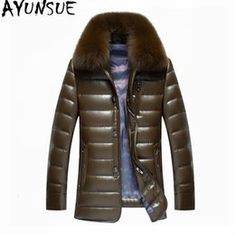 $enCountryForm.capitalKeyWord Australia - AYUNSUE Real Fox Fur Collar White Duck Down Jacket Men Winter Coat Thick Parkas Warm Mens Leather Jackets Chaqueta Hombre WXF450 T190912