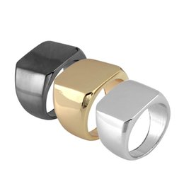 $enCountryForm.capitalKeyWord UK - Simple polished finger ring black gold  silver square men women ring New brand Singer rings Shellhard punk ring jewelry Size: 6-12