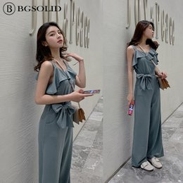 be1fe0f08bf 2019 new Korean version of summer jumpsuit women loose and slim high waist  chiffon wide leg pants