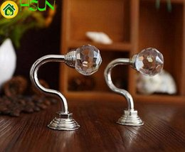 Wall Curtains UK - Chic Glass Decorative Hooks   Wall Hooks Clear Silver Metal   Crystal Curtain Tie Back Hooks   Coat Hangers Hanger