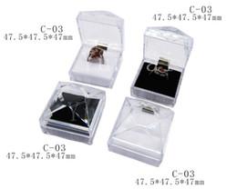 $enCountryForm.capitalKeyWord NZ - 100pcs lot Acrylic Jewelry Box Square Transparent Ring Earrings Storage Case Jewelry Boxes Jewelry Display Rack Gift Box