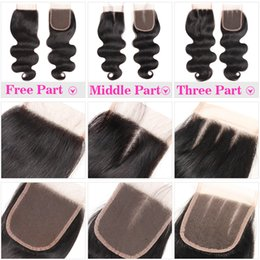 prices closure NZ - 100% Human Hair 4X4 Lace Closure Brazilian Straight Hair Body Wave Top Lace Closure Free Middle Three Part Peruvian Malaysian Cheapest Price