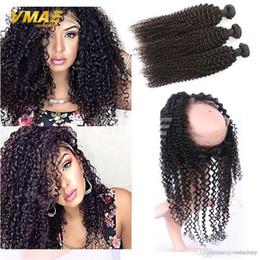 $enCountryForm.capitalKeyWord Australia - Factory Wholesale Price 100% Virgin Brazilian Hair Kinky Curly 3Pcs lot With Kinky Curly 360 Lace Frontal Closure Density 150 Free Shipping