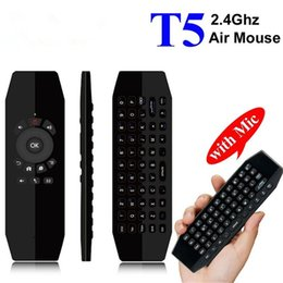Media Player For Pc Australia - Universal T5 Voice Control Mic 2.4G Wireless Fly Air Mouse Keyboard Mini Remote Control For Android TV Box PC Media Player