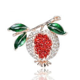 Fruits brooches online shopping - Fashion creative style with drill drop oil Brooch alloy fruit plant Brooch Korean version popular garment jewelry female accessories