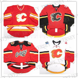 aea729d7a Cheap wholesale custom CALGARY FLAMES HOME AWAY TEAM THIRD ISSUED EDGE JERSEY  GOALIE CUT Mens Stitched Personalized hockey Jerseys