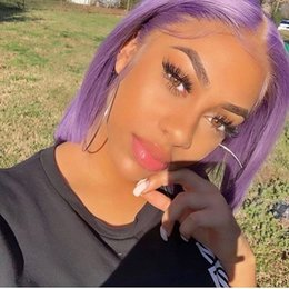 $enCountryForm.capitalKeyWord Australia - Purple bob Human Hair Wigs With Baby Hair color Bob Lace Front Wigs Blonde Full Lace Wig For Black Women