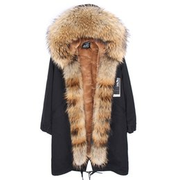 Women slim fit parka online shopping - X Long Removable velvet furs Liner parkas with Real Raccoon fur collar and placket over the knee length jacket fit for women or men