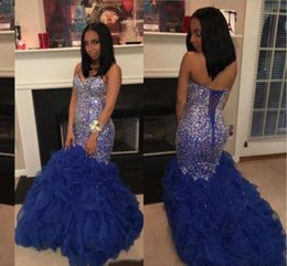 $enCountryForm.capitalKeyWord Australia - Plus size Prom Dresses Sweetheart Beaded Crystals Royal Blue Ruffles Organza Long Backless Formal Party Gowns Evening Dresses