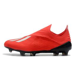 78e18514199e1 2019 homens chuteiras de futebol x 18 + fg futebol sapatos botas de futebol  Laceless Purespeed ao ar livre scarpe da calcio alta qualidade blackout