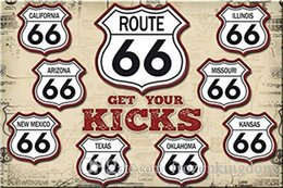 Route 66 Metal Wall Art Australia - route 66 here glet your kicks 20*30cm blond beauty motorbicycle Tin Sign Coffee Shop Bar Restaurant Wall Art decoration Bar Metal Paintings