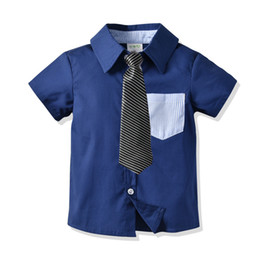 $enCountryForm.capitalKeyWord Australia - 2019 Boys Color Collision Short Sleeve Shirt In Children Baby Pure Cotton Shirt Necktie Gentleman Pretend Hair