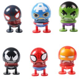 Used Toys Wholesale Australia - Novelty Avengers Hulk Iron Man Spiderman Venom Decompression Toy Decoration Car USE Shaking Head Dolls Cute Emoji Doll Retail Box DHL Free