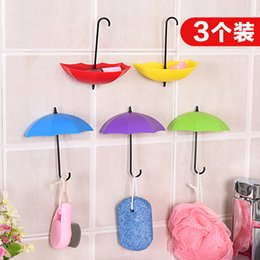 dress hooks NZ - Umbrella Modeling Wall Rayon Avoid Nail A Hook 3 Individual Dress Decoration Small Things Single Hook Opp In Bags