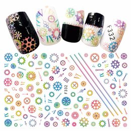 flower stickers wholesale Australia - Mixed 10 sheets beauty adhesive nail art decorations stickers thin acrylic manicure decals nails accessoires gearwheel flower