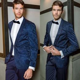 $enCountryForm.capitalKeyWord Australia - Blue Floral Pattern Groom Wedding Tuxedos Shawl Lapel Groomsmen Mens Suits Excellent Man Jacket Blazer 2 Piece(Jacket+Pants)