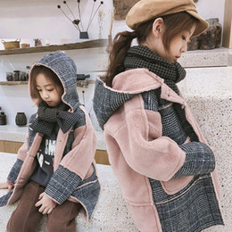 Cute Pink Jackets Canada - children winter jacket Wool coat for girls plaid jacket child winter elegant coat long hooded outwear cute pink