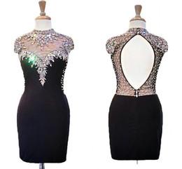 Wholesale same fashion dress celebrity resale online – Sexy Black Short Fashion Evening Prom Dress High Neck Bling Bling Crystal Rhinestones Beaded Keyhole Formal Red Carpet Celebrity Dress