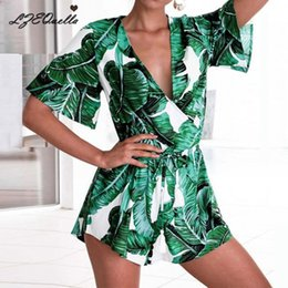 $enCountryForm.capitalKeyWord NZ - Summer Jumpsuit For Women Sexy Leaf Deep V Neck Overalls Casual Ruffles Sleeve Bandage Playsuits Combishort Body Femme Y19071801