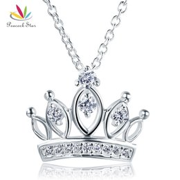 necklaces pendants Australia - Kids Girl Crown Pendant Necklace Solid 925 Sterling Silver Children Jewelry CFN8063 Dropshipping Service Available