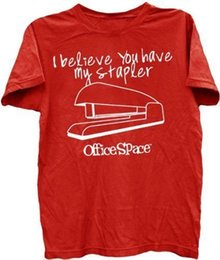 Chinese  Adult Men's Office Space Movie I Believe You Have My Stapler Red T-shirt Tee Short Sleeve Plus Size t-shirt colour jersey Print manufacturers