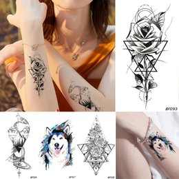 f733c9a30 Men Geometric Flower Rose Women Black Temporary Tattoo Blue Wolf Waterproof  Fake Tatoos Body Art Arms Legs DIY Tattoo Stickers