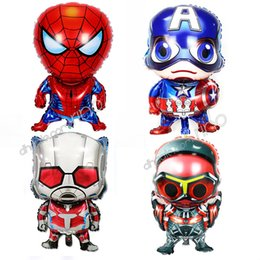 marvel toys wholesale UK - Marvel the Avengers inflatable birthday party decorative ballons helium foil cartoon Iron Man Captain America Spiderman Hulk kids Toys DHL