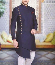 Wholesale royal blue coat white pant for sale - Group buy Arabic Men Suits Stand Collar Back Vent Prom Suits Slim Fit Mens Wedding Suits Formal Business Tuxedos Blazer Jacket Men Piece Coat Pant
