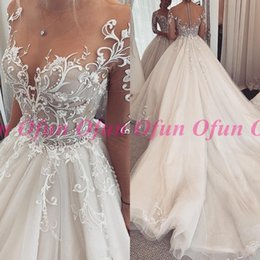 $enCountryForm.capitalKeyWord Australia - Fabulous Lace Illusion A Line Wedding Dress Covered Button Tulle Court Train Bridal Gown Robe De Mariee With Appliques Beads
