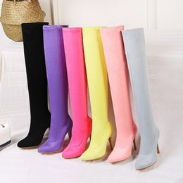 Colour heels online shopping - 2019 New Colours Winter Boots Women Cow Suede Over The Knee Boots High Heel Pointed Top Woman Boot Thickening Elastic Botas
