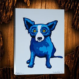 $enCountryForm.capitalKeyWord Australia - Blue Dog Second Line,1 Pieces Canvas Prints Wall Art Oil Painting Home Decor (Unframed Framed) 24X32.