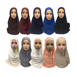 Jersey cotton scarf online shopping - 2019 new design cm x170cm cotton women muslim head hijab scarf jersey shawl with fake diamond