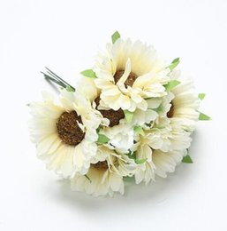 Fabric Flowers Decoration UK - Artificial Sunflower 5cm silk Sunflower flower head wedding party home decoration DIY wreath scrapbook craft fake flower