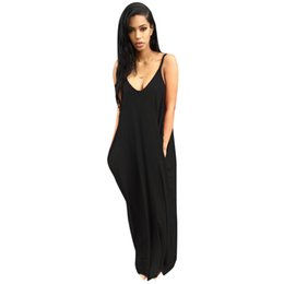 white black oversized dress UK - wholesale Women Summer Oversized Long Slip Beach Dress Gothic Spaghetti Strap Vestido Pregnant Black White Backless Maxi Dress