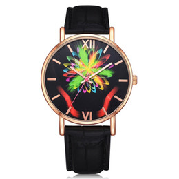 Discount women fashionable wrist watches - GENBOLI Women Quartz Watches Gloriously Radiant Pattern Leather Strap Analog Quartz Wrist-Watch Fashionable Popular Swee