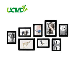 "bamboo photo frames Australia - Magnetic Photo Frame With Adhesive Crystal Surface 6"" X 4"" 7"" X 5"" For Kids Room Wall Decor Magnet Picture Frame 8 Pieces   Set SH190918"